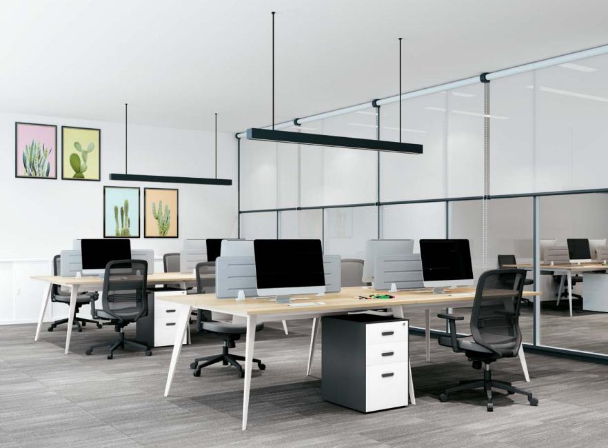 四人板式办公桌,板式办公桌厂家-AB-03