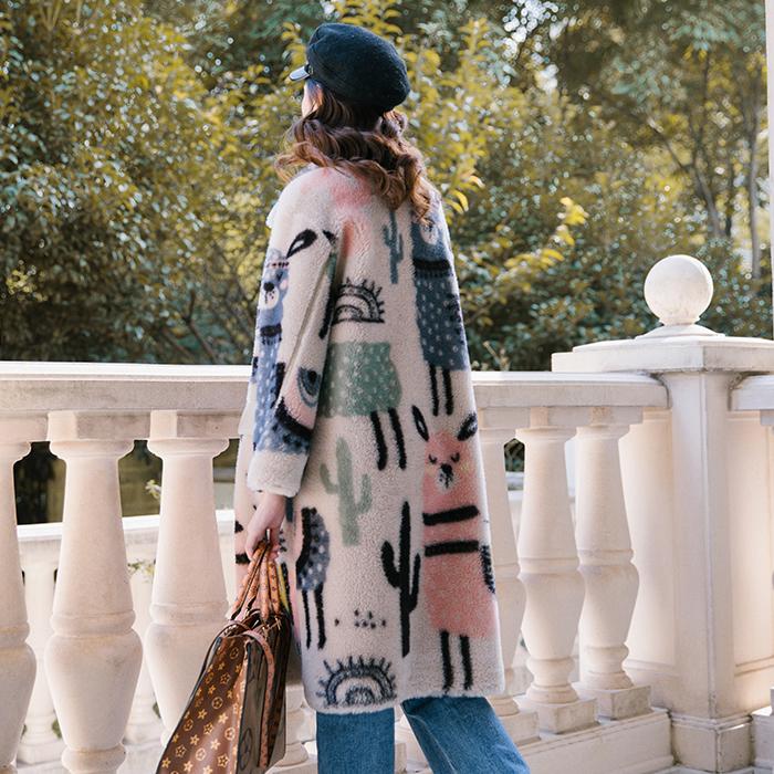 凡稻设计师款印花全羊毛颗粒绒大衣
