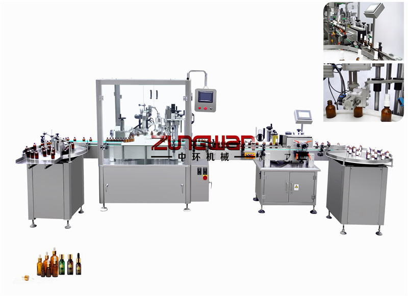 ZHX-DGP全自动滴管盖瓶灌装旋盖贴标生产线