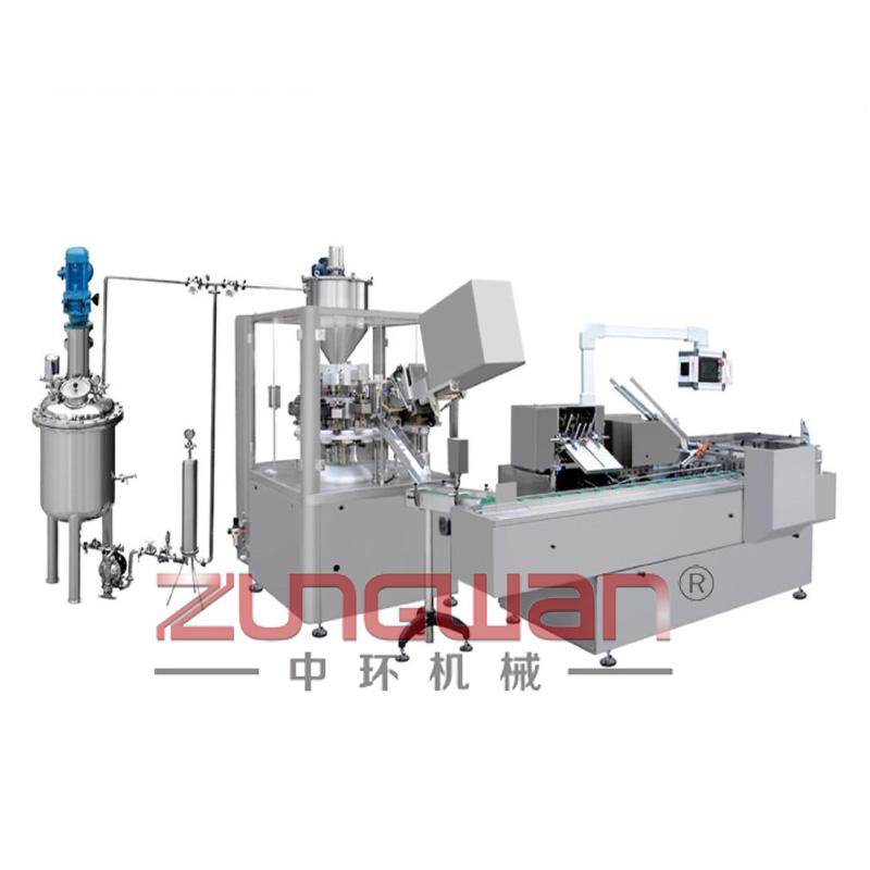 ZHX-RGX全自动软(铝)管灌装封尾装盒生产线
