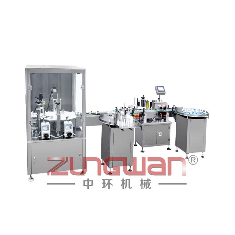 ZHGNX-III全自动机械手式胶水烟油灌装旋盖贴标生产线