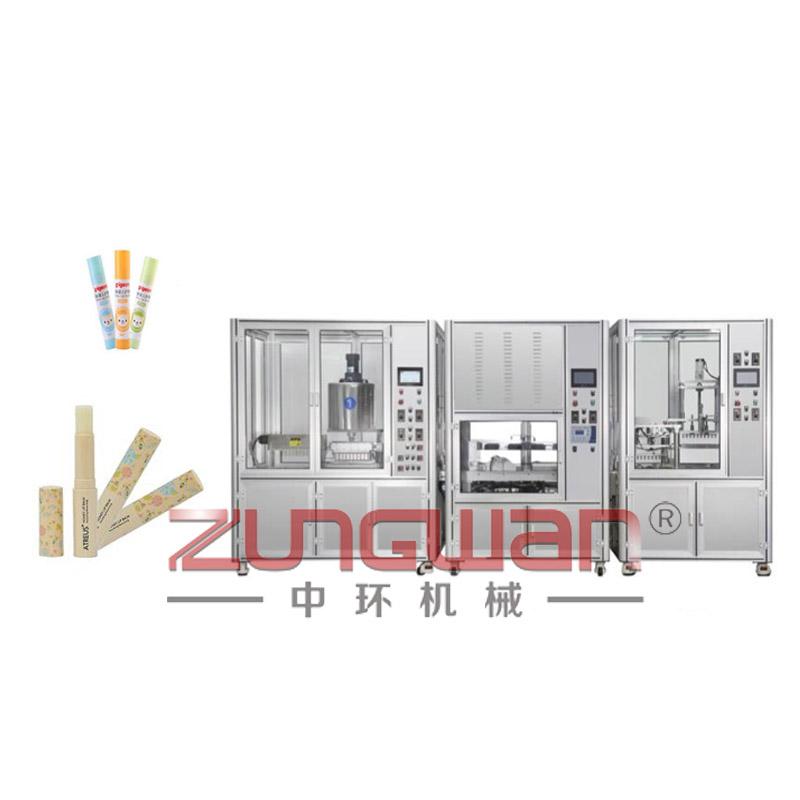 ZHCG-8090全自动润唇膏固体胶充填冷却生产线