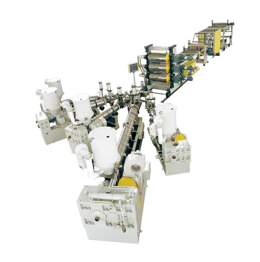 PP、EVA、EVOH、PS、PE多层共挤阻隔片材生产线