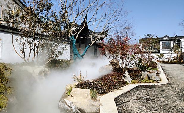 黄山黟县园林假山景观造雾案例