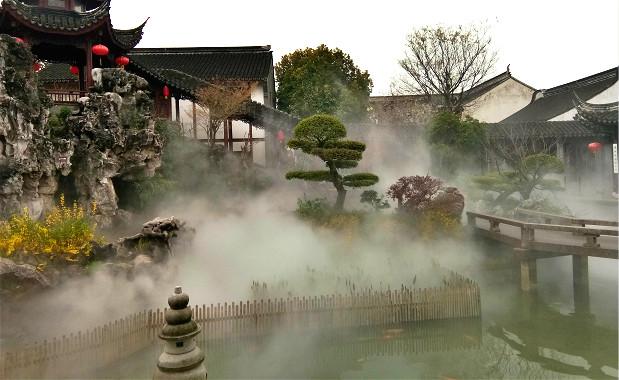 嘉定檀园景观人工造雾案例