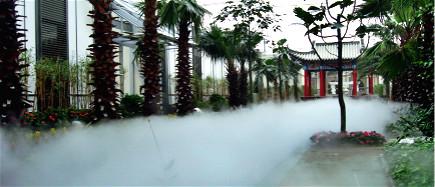 园林景观水池社区中的人工水雾是怎么形成的