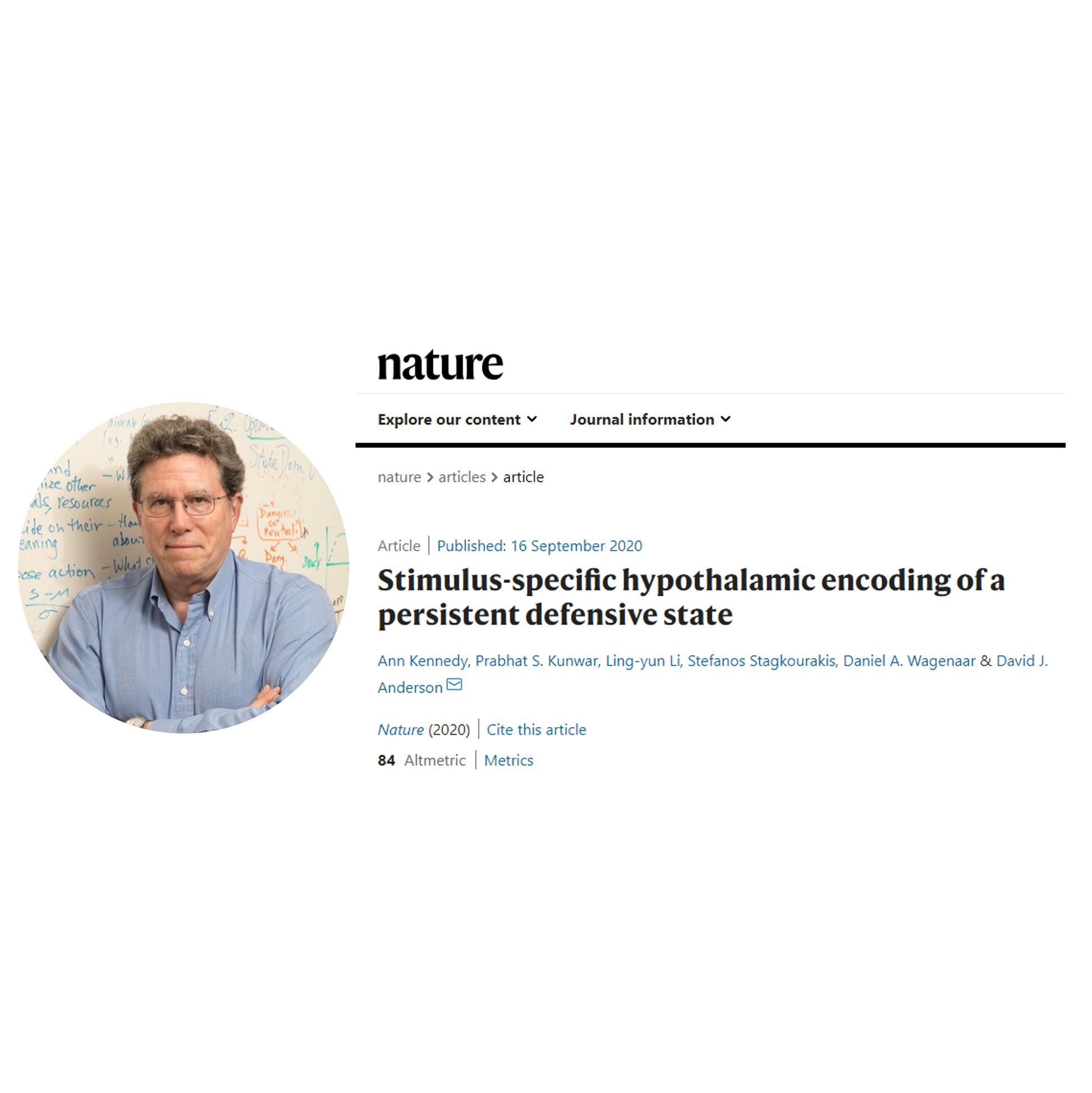 David J. Anderson NATURE新作 | 下丘脑特异性刺激编码持久的防御状态