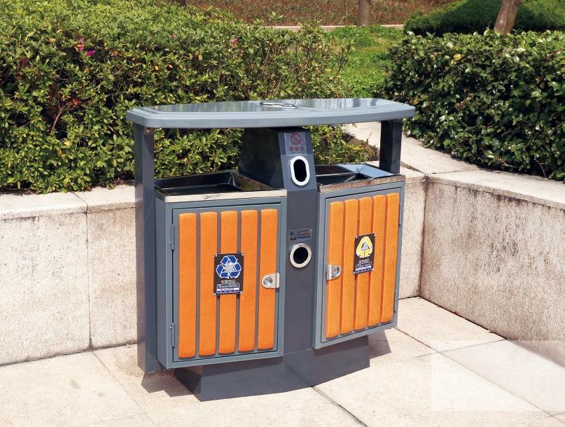 钢木垃圾桶CQU-GM-S006