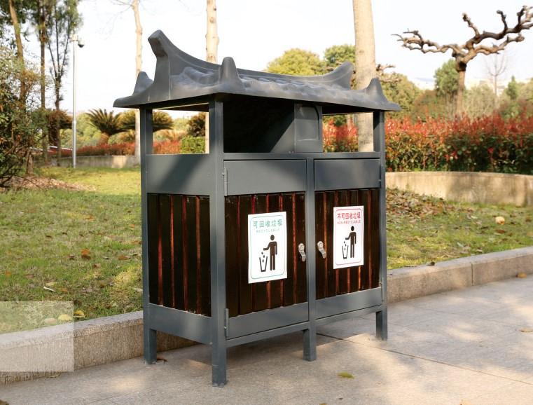 钢木垃圾桶CQU-GM-S015