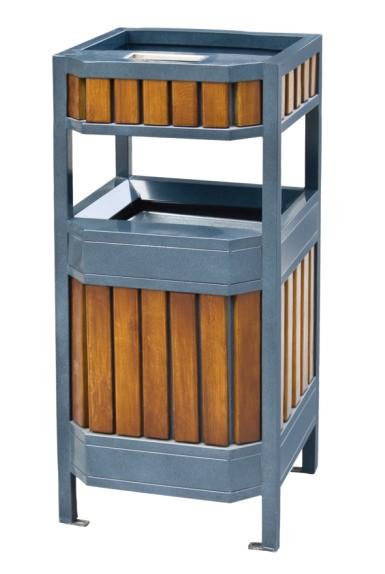 钢木垃圾桶CQU-GM-F064