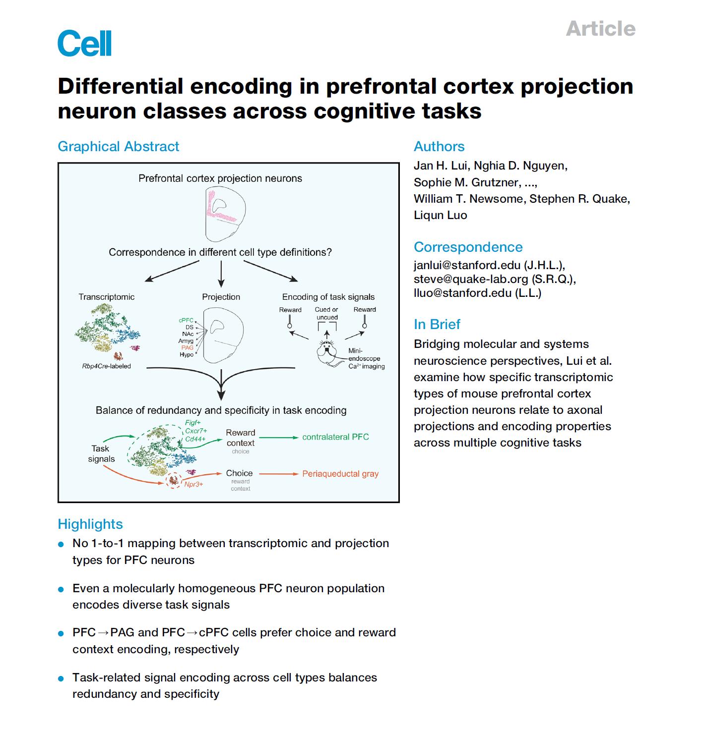 【Inscopix文章】骆利群CELL新作: 不同神经元类型和编码认知行为的关系