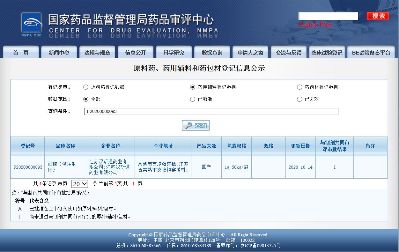 Registration number of AVT sucrose F20200000093 was officially announced-AVT (Shanghai) Pharmaceutical Tech Co., Ltd
