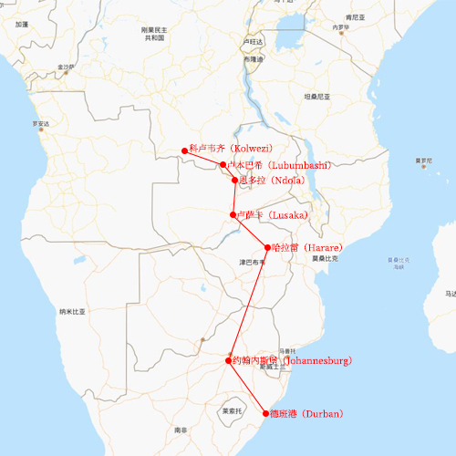 Route line from South Africa to Congo