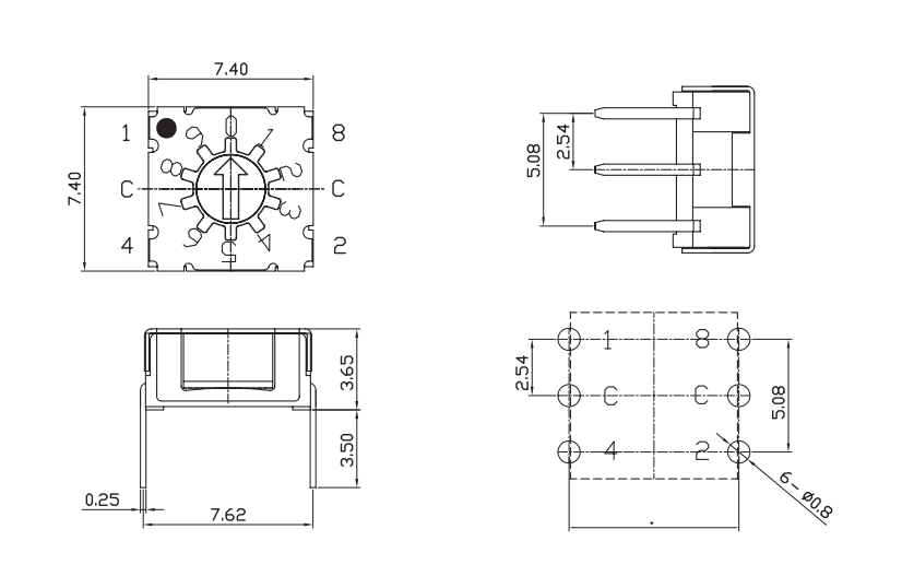 旋转编码开关/SKAR-10产品图纸