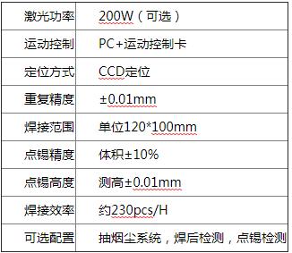 医疗电子激光焊锡机/传感器激光焊锡机参数