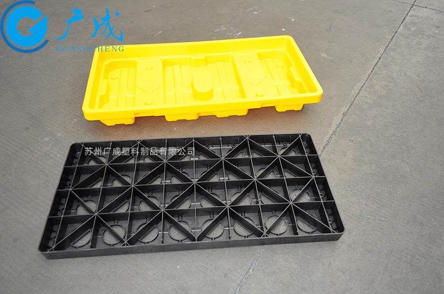 两桶装防泄漏塑料托盘隔板反面