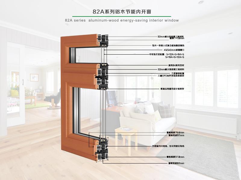 82A系列铝木节能型内开窗