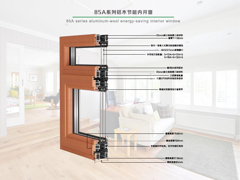85A系列铝木节能型内开窗
