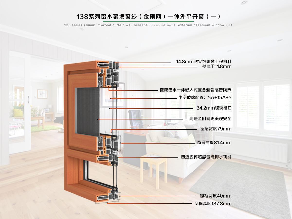 138系列铝木幕墙式窗纱一体外开窗