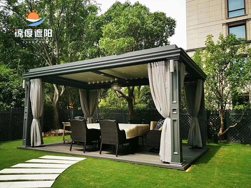 花园庭院电动防雨凉亭