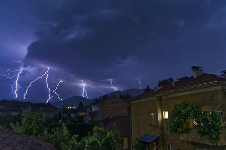 How are residential fires related to lightning strikes produced?