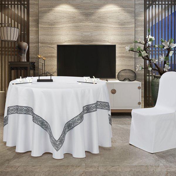 双面缎桌布(白色镶边款)