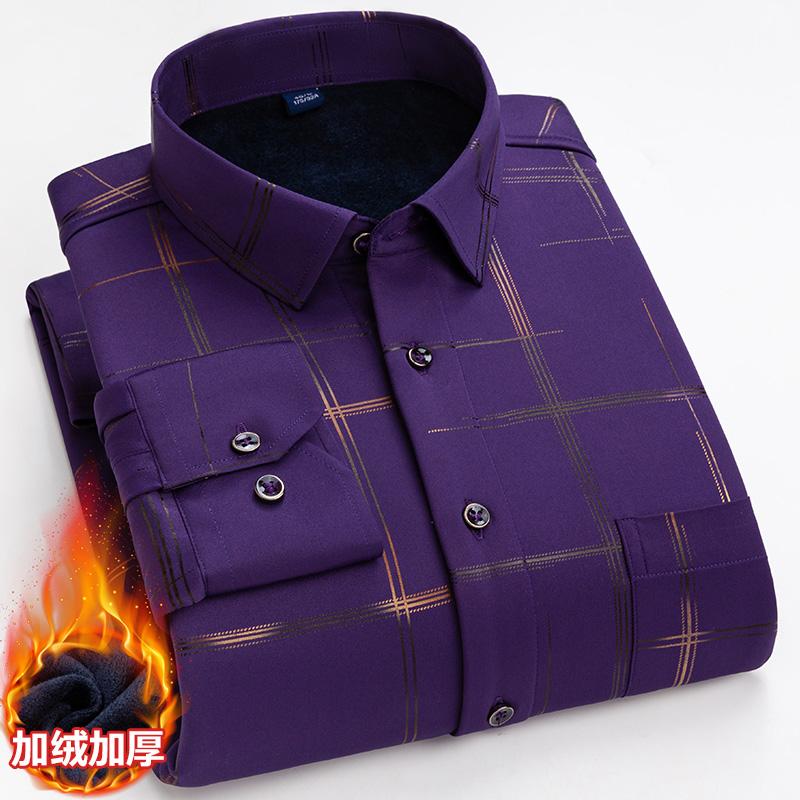 批发定制男士保暖衬衫 烫金休闲商务衬衫